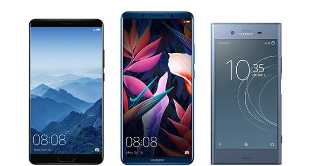 مقایسه مشخصات فنی گوشی هواوی میت 10 و میت 10 پرو با اکسپریا XZ1