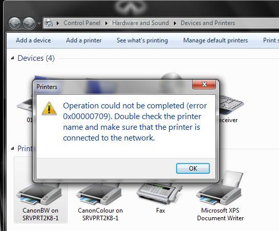 چطور ارور  Operation could not be completed  error 0x00000709 در پرینتر حل کنیم؟